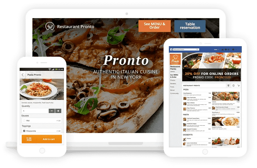 Instant Website Generator for food ordering