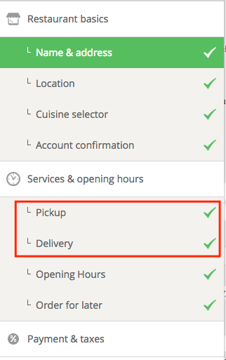 How do I disable menu items or online ordering 4