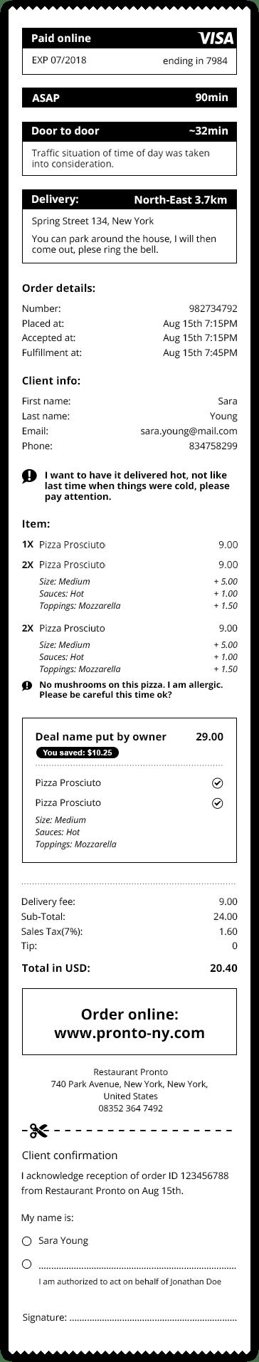sample client receipt